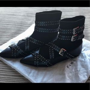 Buckled Flat Sock Ankle Boots